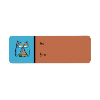 Blue Owl blue brown small Gift Tag Label Return Address Label