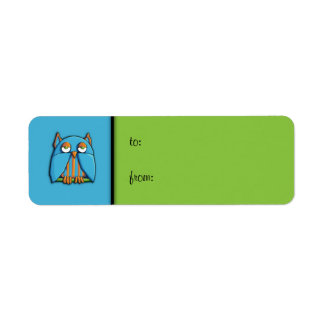Blue Owl blue green small Gift Tag Label Return Address Label