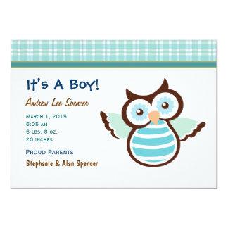 Blue Owl Boy's Birth Announcement