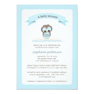 Blue Owl Bring a Book Baby Shower Invitation