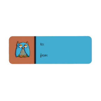 Blue Owl brown blue small Gift Tag Label Return Address Label