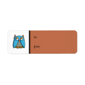 Blue Owl brown small Gift Tag Label Return Address Label