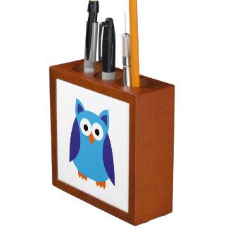 Blue owl cartoon desk organiser