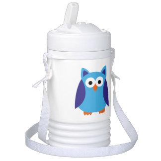 Blue owl cartoon drinks cooler