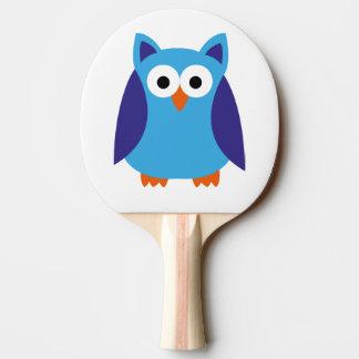 Blue owl cartoon ping pong paddle