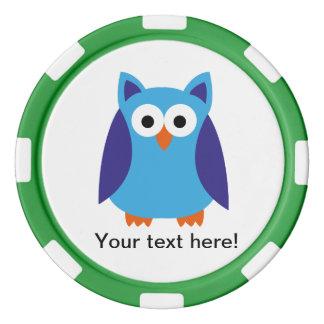 Blue owl cartoon poker chips