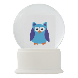 Blue owl cartoon snow globe