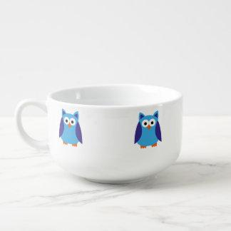 Blue owl cartoon soup mug