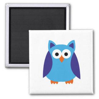 Blue owl cartoon square magnet