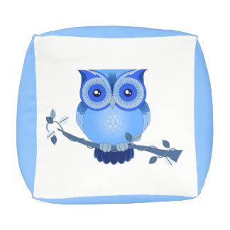 Blue Owl Cube Pouf