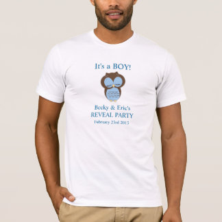 Blue Owl Gender Reveal Boy Customizable Shirt