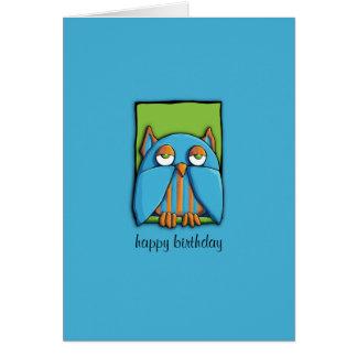 Blue Owl green blue Birthday Card