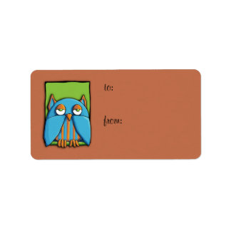 Blue Owl green brown Gift Tag Label Address Label