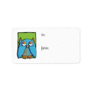 Blue Owl green Gift Tag Label Address Label