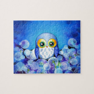 Blue Owl in Dandelion Field Jigsaw Puzzle