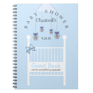 Blue Owl Mobile Baby Shower Guest Book- Notebooks