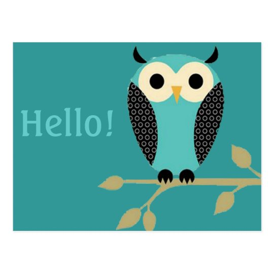 Blue Owl On Limb Hello Postcard