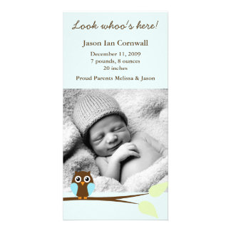 Blue Owl Photo Birth Announcements Photo Cards
