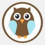 Blue Owl Round Sticker