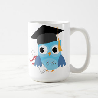 Blue Owl with Diploma Graduation Mug