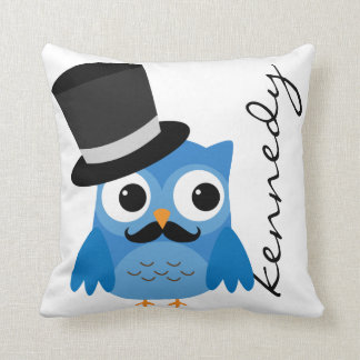 Blue Owl with Mustache and Top Hat Pillow Throw Cushions