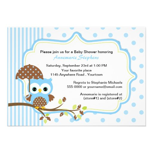 Blue Owl with Umbrella Boys Baby Shower Announcement