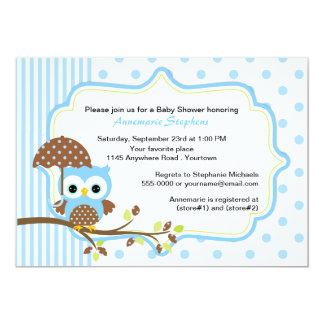 Blue Owl with Umbrella Boys Baby Shower 13 Cm X 18 Cm Invitation Card