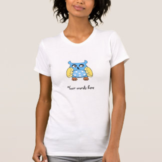 Blue owl with white polka dots t-shirts