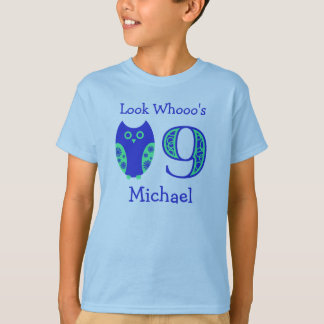 Blue Owls 9th Birthday Personalized T-Shirt