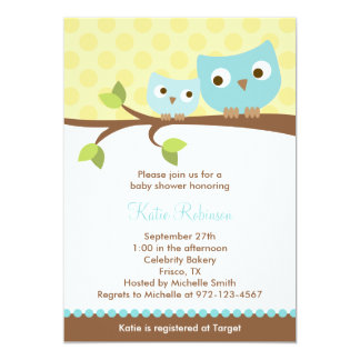 Blue Owls Baby Shower Invitations