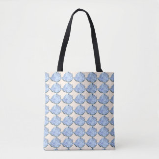 Blue Oyster Watercolor Tote Bag