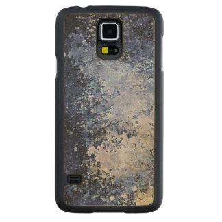 Blue Paint Splatter Acid Wash Texture Carved Maple Galaxy S5 Case