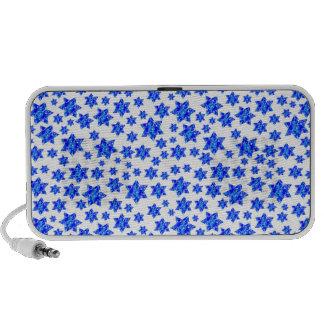 Blue Paint Splatter Jewish Stars Notebook Speaker
