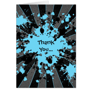 Blue paint splatter paintball thank you card