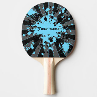 Blue paint splatters black and gray ping pong paddle