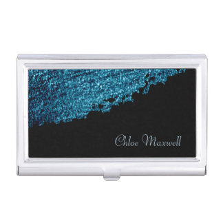 Blue Paint Stroke Minimalist Business Card Holder