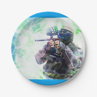 Blue Paintball 7 Inch Paper Plate