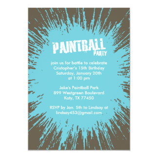 Blue Paintball Splatter Party Invitations