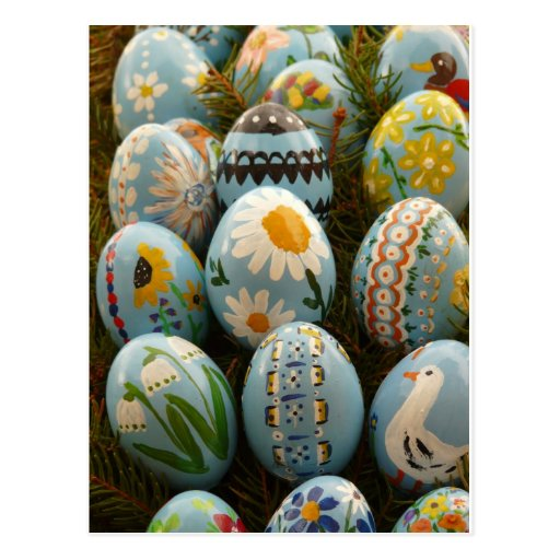 Blue Painted Easter Eggs Postcard