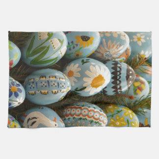 Blue Painted Easter Eggs Tea Towel