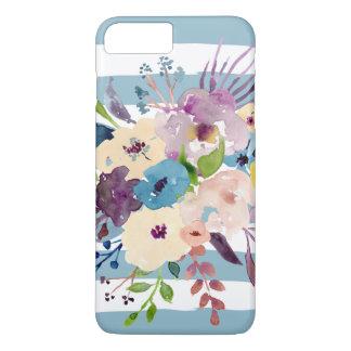Blue Painted Stripes Watercolor Flowers, Feminine iPhone 8 Plus/7 Plus Case