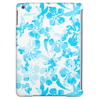 Blue painted tropical floral