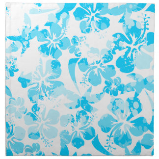Blue painted tropical floral napkin