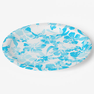 Blue painted tropical floral paper plate