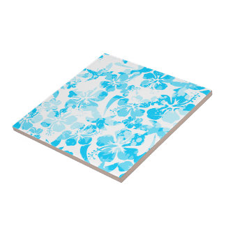 Blue painted tropical floral tile
