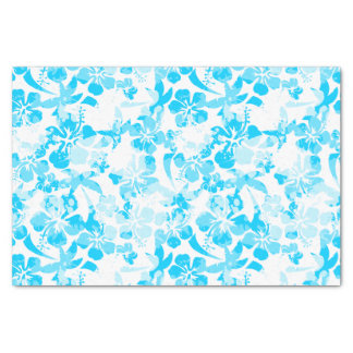 Blue painted tropical floral tissue paper