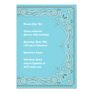 Blue Paisley Bandana Invitation