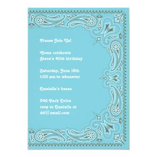 Blue Paisley Bandanna Invitation