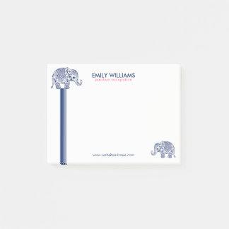 Blue Paisley Elephant & Decorative Stripes Post-it® Notes