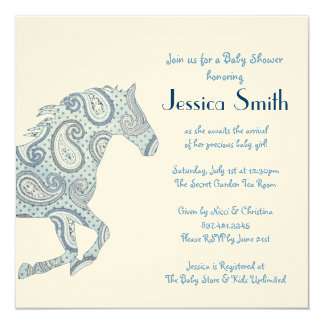 Blue Paisley Horse Baby Shower Announcement